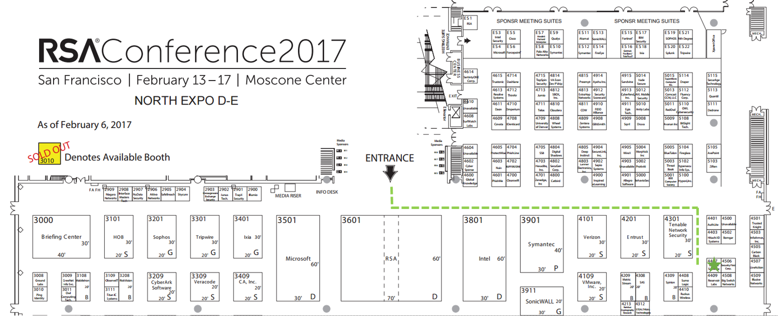 RSA expo map to Linoma booth